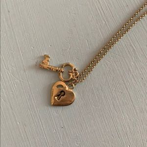 Gold key and heart necklace